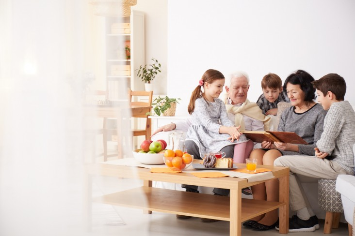 Family seated on couch