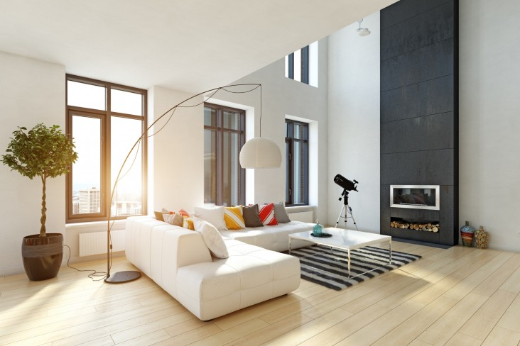 Modern living area of house